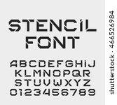 stencil alphabet font. tough... | Shutterstock .eps vector #466526984