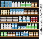 supermarket. shelfs with milk... | Shutterstock .eps vector #466528430
