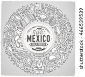 line art vector hand drawn set... | Shutterstock .eps vector #466539539