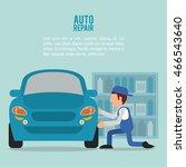 mechanic man cartoon vehicle... | Shutterstock .eps vector #466543640