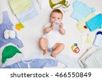 the baby drinks from a small... | Shutterstock . vector #466550849