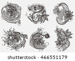 set vector painting lotus and... | Shutterstock .eps vector #466551179