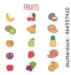 set of fruits vectors isolated... | Shutterstock .eps vector #466557410