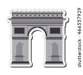 flat design arc de triomphe...   Shutterstock .eps vector #466557929