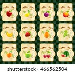 tags of various fruits with... | Shutterstock .eps vector #466562504