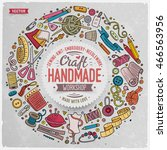 colorful vector hand drawn set... | Shutterstock .eps vector #466563956