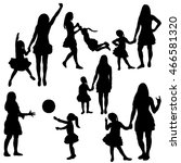 vector  group of silhouettes... | Shutterstock .eps vector #466581320