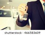 male hand holding car keys...   Shutterstock . vector #466583609