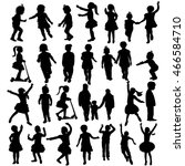 vector  group of silhouettes of ... | Shutterstock .eps vector #466584710