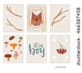 owl in the hollow. mushrooms.... | Shutterstock .eps vector #466587458