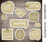 stickers on rustic wood... | Shutterstock .eps vector #466588400