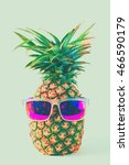 vintage ripe whole pineapple. | Shutterstock . vector #466590179