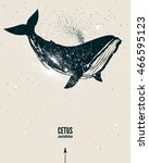 whale constellation space poster | Shutterstock .eps vector #466595123