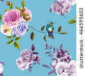 humming bird  roses and peony... | Shutterstock .eps vector #466595603