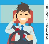 driver using phone while... | Shutterstock .eps vector #466596488