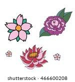 lotus sakura and chrysanthemum... | Shutterstock .eps vector #466600208
