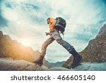 traveler hipster man walking ... | Shutterstock . vector #466605140