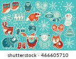 christmas sticker set with... | Shutterstock .eps vector #466605710