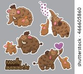 set of stickers with cute... | Shutterstock .eps vector #466605860