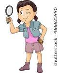 illustration of a little girl... | Shutterstock .eps vector #466625990