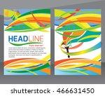 set of brochures in colorful... | Shutterstock .eps vector #466631450