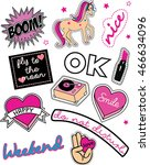 sweet embroidery patches and... | Shutterstock .eps vector #466634096