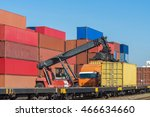 forklift handling the container ... | Shutterstock . vector #466634660