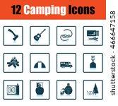 camping icon set. shadow...