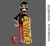 skateboarder and hipster in the ... | Shutterstock .eps vector #466648034