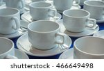 many white cup of coffee on a... | Shutterstock . vector #466649498