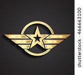 3d golden military star symbol... | Shutterstock .eps vector #466663100