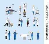 vector set of doctors and... | Shutterstock .eps vector #466667924