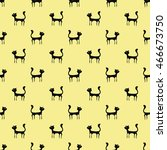 black cats seamless pattern.... | Shutterstock . vector #466673750