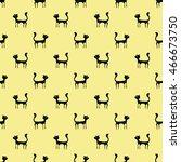 black cats seamless pattern.... | Shutterstock . vector #466673750