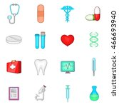 medical icons in cartoon style. ... | Shutterstock . vector #466693940