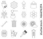 outline apiary icons set....