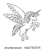 unicorn vector on a white... | Shutterstock .eps vector #466753574