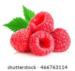 Ripe Raspberries With Leaves...