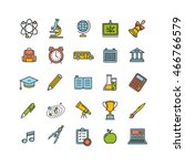 school outline color icon set.... | Shutterstock .eps vector #466766579