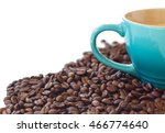coffee beans and blue coffee... | Shutterstock . vector #466774640