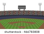 baseball stadium with crowd on... | Shutterstock .eps vector #466783808