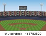 baseball stadium with crowd on... | Shutterstock .eps vector #466783820