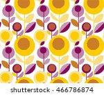 60s floral retro pattern.... | Shutterstock .eps vector #466786874