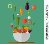 fresh vegetables salad vector... | Shutterstock .eps vector #466801748