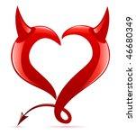 Devil Heart. Vector Illustration