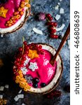 pink smoothie bowls with...   Shutterstock . vector #466808639