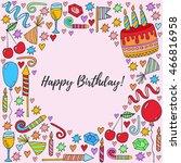 birthday card hand drawn...   Shutterstock .eps vector #466816958