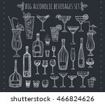 big alcoholic beverages set.... | Shutterstock .eps vector #466824626