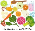 set of fresh hand drawn fruits... | Shutterstock .eps vector #466828904