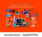 flat web design one page... | Shutterstock .eps vector #466835996